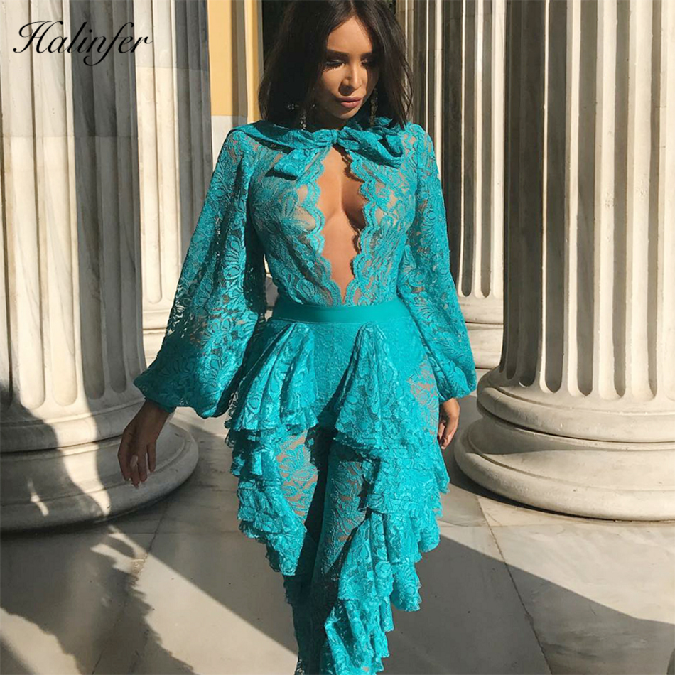 Halinfer 2018 Novas mulheres vestido de verão sexy bodycon lace bow bandage vestido da celebridade elegante vestido de festa azul branco atacado