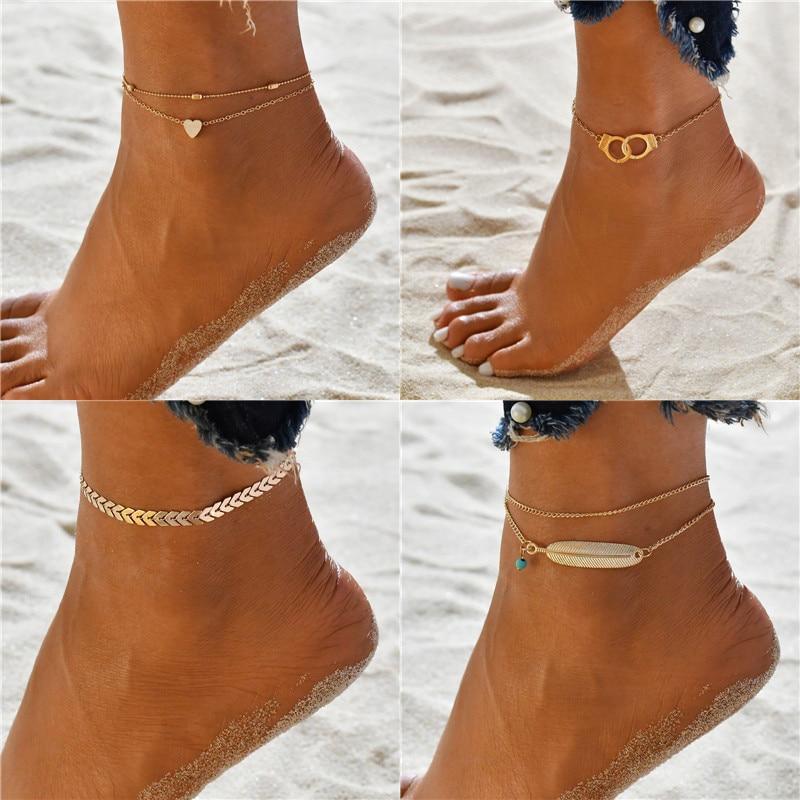 Modyle 2020 Women Anklets Simple Heart Barefoot Crochet Sandals Foot Jewelry Two Layer Foot Legs Bracelet Anklets