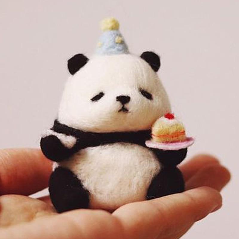 New Wool Felt Poking Le Diy Material Package Handmade Beginner Wool Poke Pin Panda Hamster Women Bag Pendant Pets Doll Toy