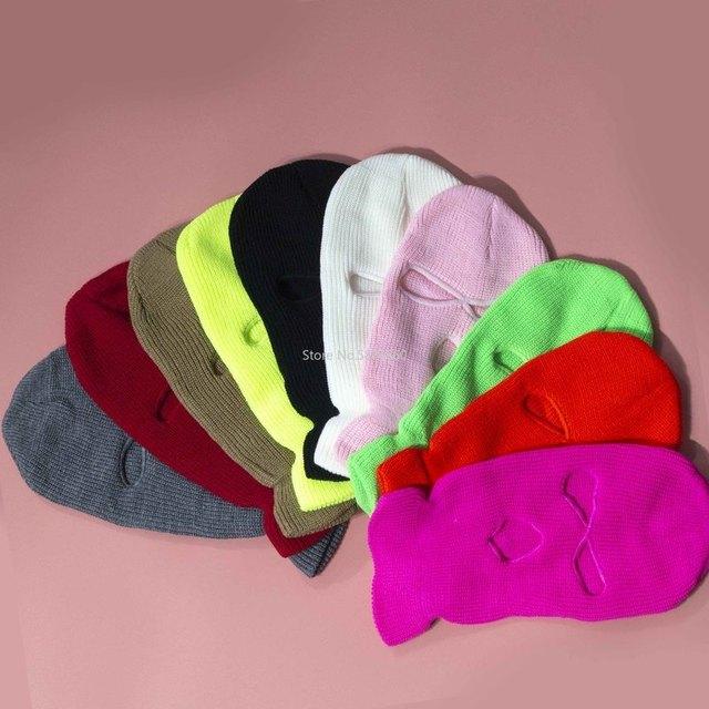 Tam yüz maskesi üç 3 delik Balaclava örgü şapka ordu taktik CS kış kayak bisiklet maskesi bere şapka eşarp sıcak yüz maskeleri
