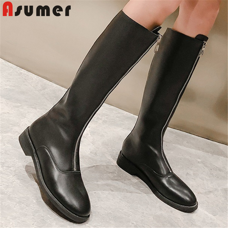 ASUMER Women Boots Zipper Autumn High-Quality New-Fashion Spring Knee-High PU