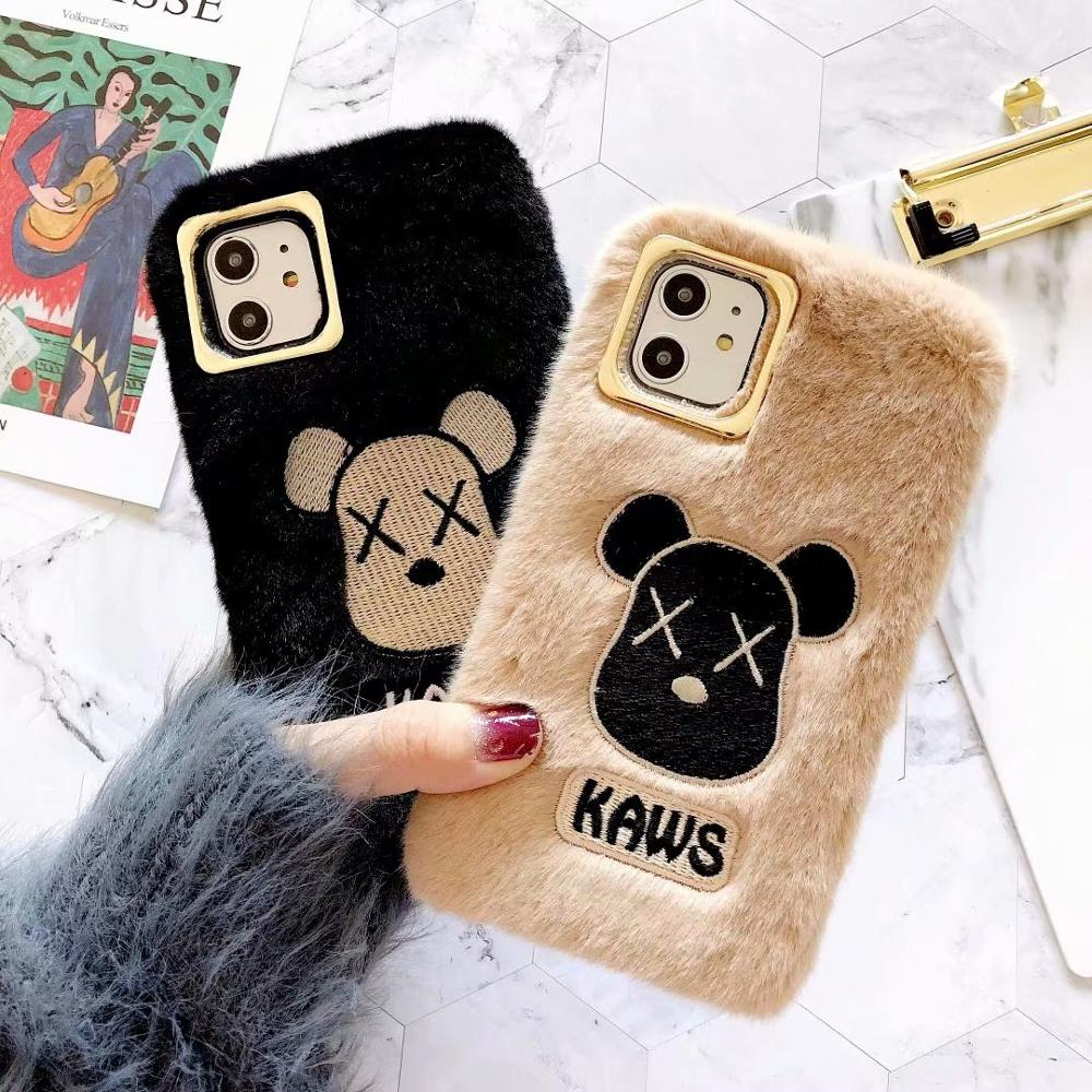 2 schöne Gloomy Bear TPU weichen fall für iphone X XS XR XS MAX Luxus Warme Plüsch fall abdeckung für iphone 11 pro max 7 8 6s plus