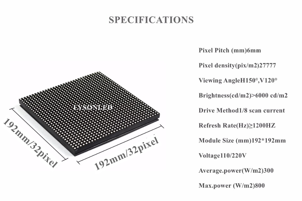 LYSONLED P6 Outdoor Smd RGB Led Display Module 192x192mm , 32x32 Pixels Exterior P6 Business Advertising Full Color Led Panel