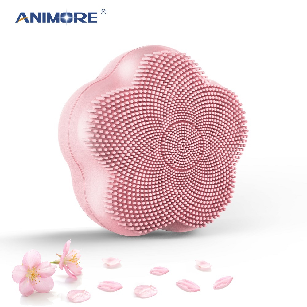 ANIMORE Silicone Facial Cleansing Brush Rotating Magnetic Beads Deep Cleaning Face Spa Rechargeable Waterproof Face Cleansing Br