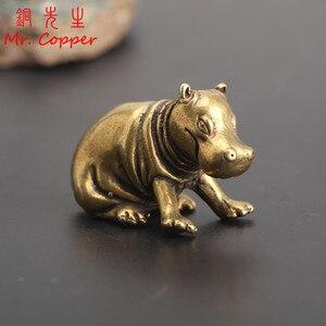 Vintage Bronze hipopotam statua miedź rzemiosło rzeka koń ozdoba mosiądz Feng Shui akcesoria do dekoracji wnętrz dekoracja biurka prezent