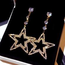 New fashion Korean silver needle Earrings exaggerate long super flash star temperament earrings earrings female e002084 south korean needles flash with imitation pearl diamond earrings super shell earring eardrop female e001882 temperament