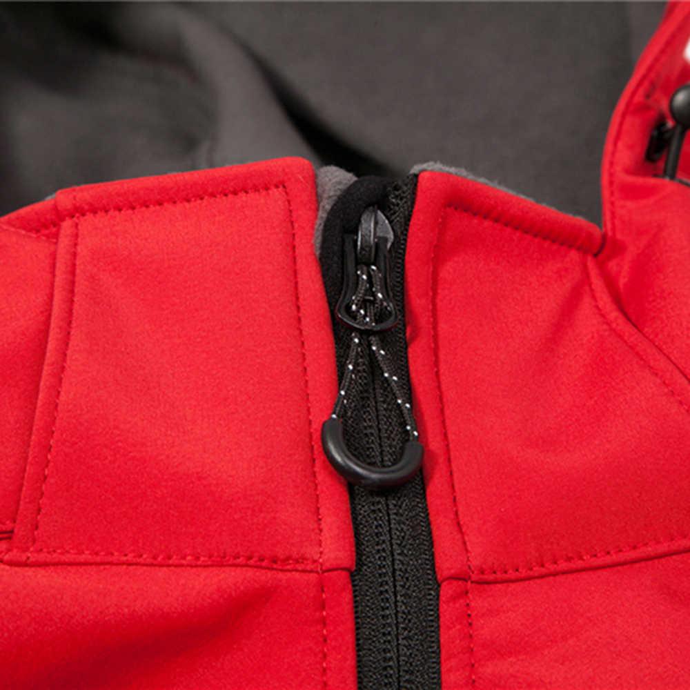 Niestandardowy nadruk nowa kurtka typu Softshell mężczyźni wodoodporny polar termiczny odkryty płaszcz z kapturem płaszcz narciarski Trekking Camping odzież z kapturem