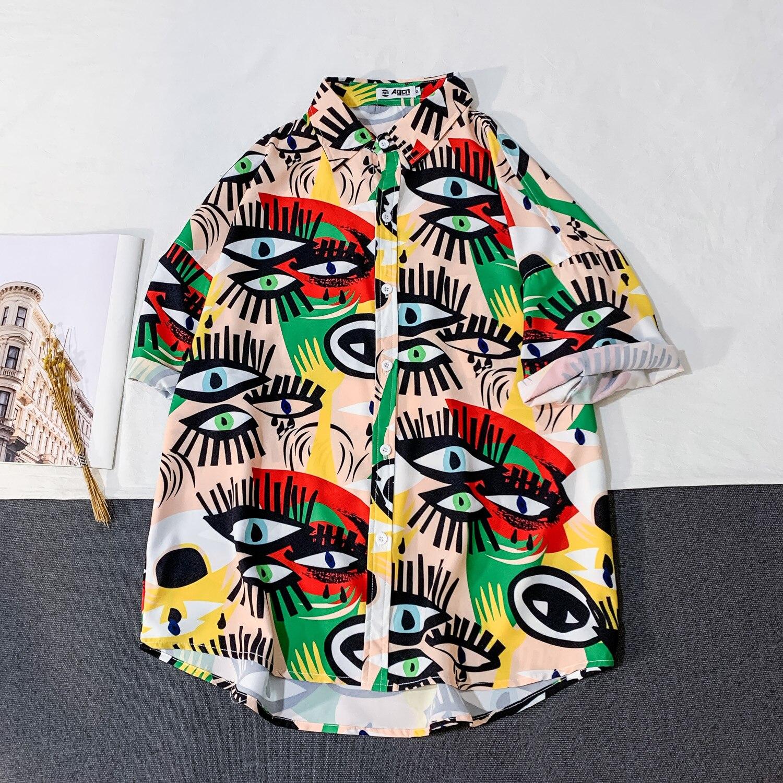 OSCN7 Casual Streetwear Beach Printed Short Sleeve Shirt Men 2020 Hawaii Oversize Fashion Harujuku Women Shirts C136