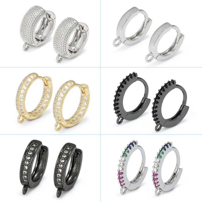 2020  Round Circle Zircon Rhinestone Hoop Earrings For Women Jewelry Making Gold Plated Earring Accessories