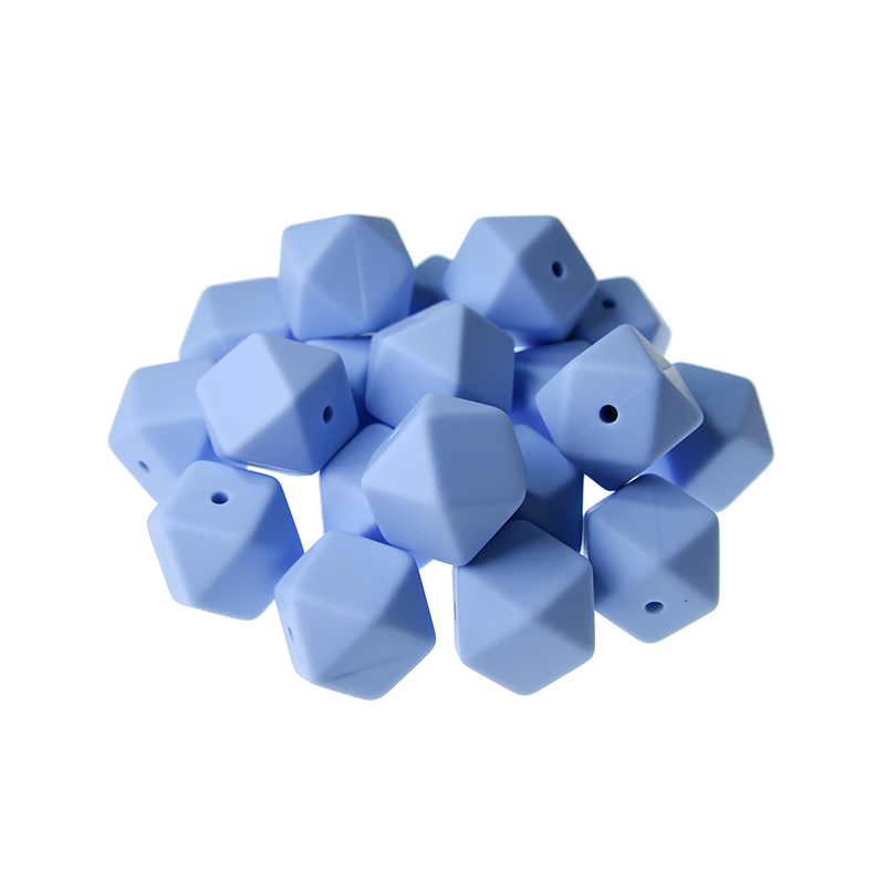 Mabochewing 10pcs 17mm Hexagon Food Grade BPA Free Soft Baby Chew Teething Silicone Beads Baby Teethers Necklace Making