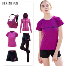 New Women Yoga Sets 5 Piece Suit Workout Set Gym Tracksuit Shirt Running Pants Quick Dry Sportswear 3