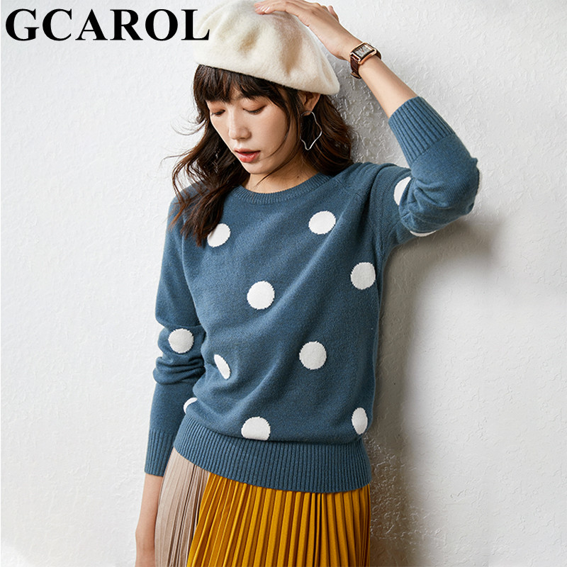 GCAROL nouveau femmes à pois pull 30% laine surdimensionné pull décontracté Streetwear automne hiver mignon tricoté pull M-2XL
