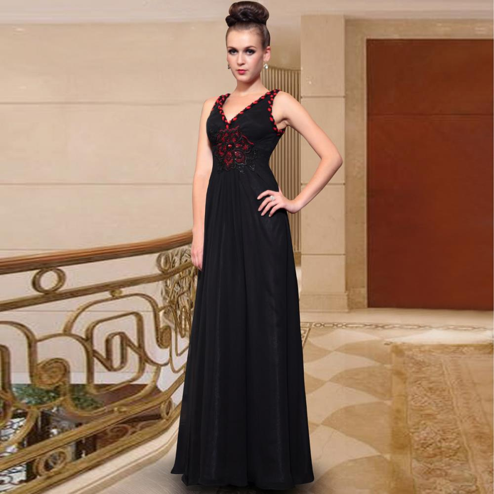 Free Shipping 2018 Black V-neck  Plus Size Slim Elegant Handmade Embroidery Style Long Mother Of The Bride Dresses
