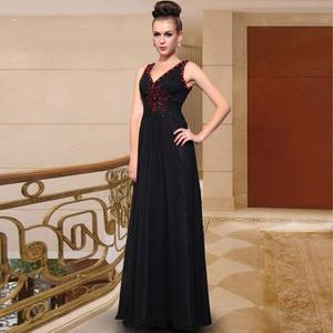 free shipping 2018 Black V-neck plus size slim elegant handmade embroidery style long Mother of the Bride Dresses(China)