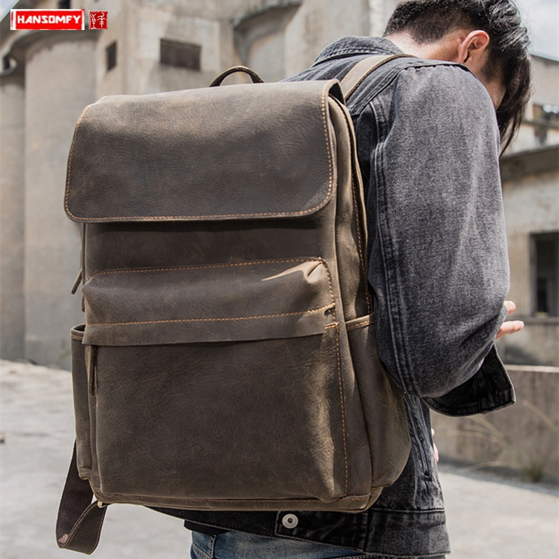 Men's Bag Backpack Men Leather Cowhide Retro Casual Male Travel Bags Computer Backpacks Crazy Horse Leather Genuine Leather Big