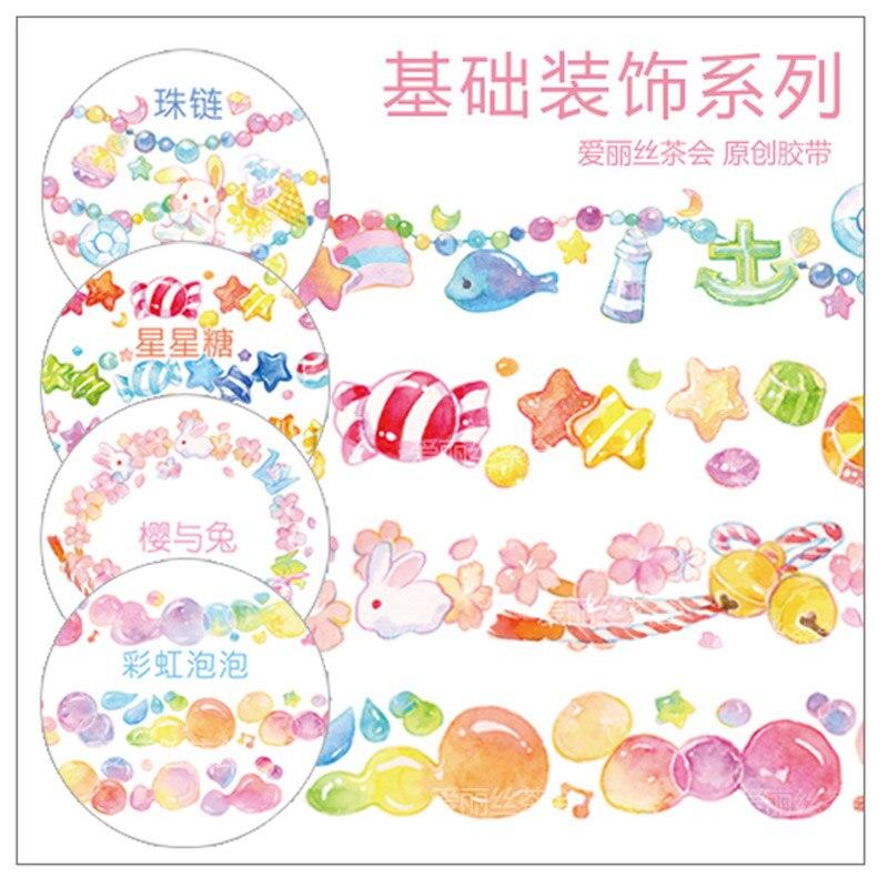 Colorful Kawaii Star Candy Rainbow Bubble Shiba Sakura Rabbit Bow Animal Cute Washi Tape DIY Planner Scrapbooking Masking Tape