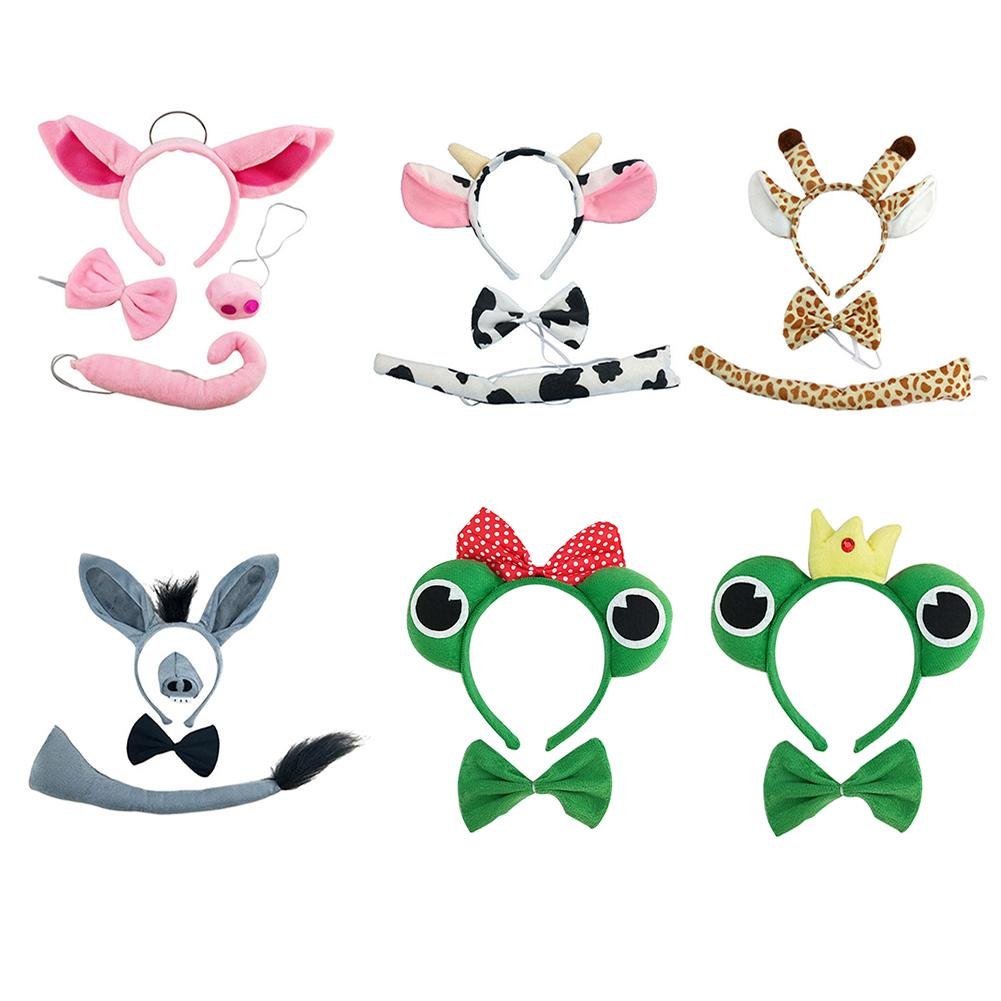 Halloween Animal Ear Headwear Cow Giraffe Frog Pig Pattern Hair Hoop With Bow Tie Tail Headband For Adult Kids Performance Props
