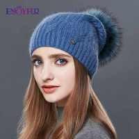 ENJOYFUR di Alta Qualità del Cachemire di Inverno Delle Donne Cappelli di Moda Tipo di Collegamento Lavorato A Maglia Cappello Femminile di Autunno Della Ragazza di Pelliccia Pompon Berretti