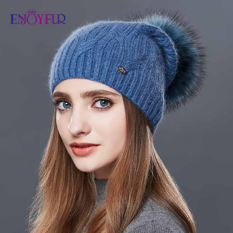 ENJOYFUR High Quality Cashmere Women Winter Hats Fashion Link Type Knitted Hat Female Girl Autumn Fur Pompom Beanies