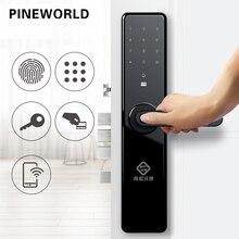PINEWORLD inteligentne drzwi blokada z użyciem linii papilarnych, bezpieczeństwo domu blokada bezkluczykowa, Wifi hasło karta rfid blokada aplikacja bezprzewodowa telefon zdalnego sterowania
