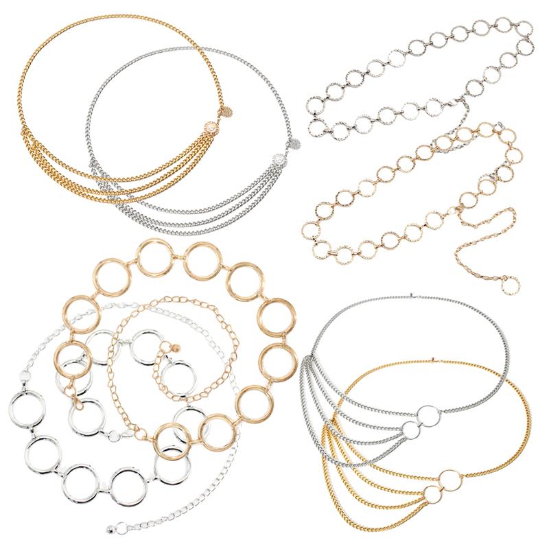1Pcs Retro Women's waist chain Gold Silver Metal Lady Simple Belts Women Belt Dress Accessories Belly Waist Chain Body Jewelry