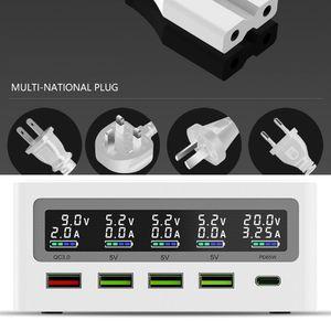 Image 4 - 5 ميناء QC3.0 USB Type C PD 65 واط محول الطاقة تشى شاحن لاسلكي الهاتف المحمول محطة شحن سريع قفص الاتهام للهاتف المحمول