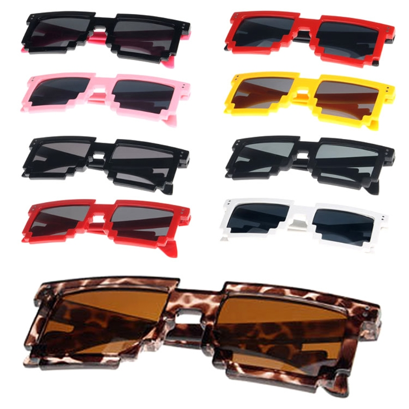 Useful Unisex Retro Trendy Square Sunglasses Pixel Glasses Pixelated Style 9 Colors C63d Diversified In Packaging