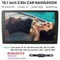 2Din 10.1 pouces Android 9.0 universel autoradio stéréo GPS Navigation dans le tableau de bord WIFI 4G OBDII DAB Quad Core Bluetooth 2 GB RAM + caméra