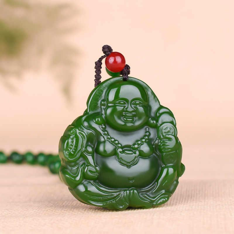 Maitreya بوذا الأخضر الطبيعي قلادة معلقة من اليشم الصينية منحوتة باليد سحر الجاديت مجوهرات موضة تميمة هدايا للرجال النساء