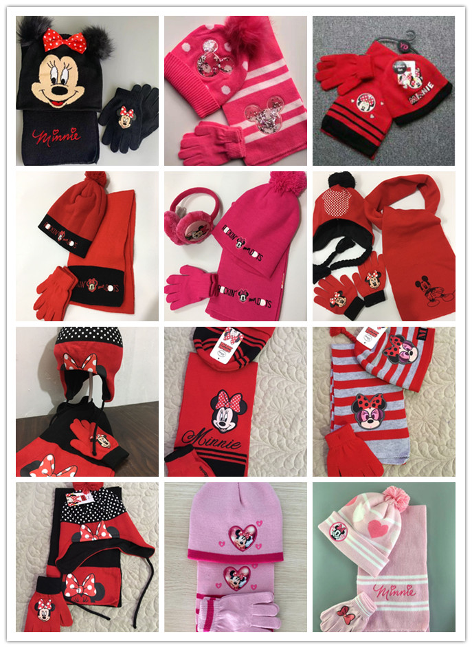 1set Cartoon Girl Lovely Minnie Knit Beanie Hat Children Christmas Winter Knitted Scarf Gloves Hat Set Party Kids Gifts 2-8Y