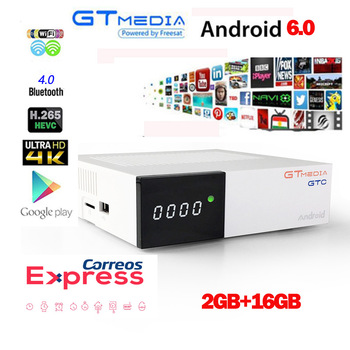 GTMEDIA GTC decoder DVB-S2 DVB-C DVB-T2 FR ES EU iptv android 6.0 TV BOX 2GB 16GB +1 Year cccam Satellite TV Receiver set tv box