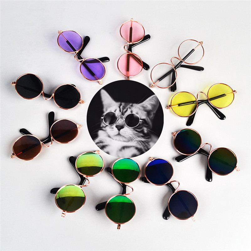 1Pcs Fashion Lovely Glasses Cat font b Pet b font Products Sunglasses Eye wear Protection Small