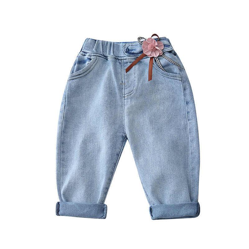 Bebek kız çiçekler sevimli prenses kot yeni bahar çocuk Denim pantolon çocuk tatlı eğlence pantolon çocuk bezleri
