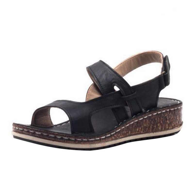 JODIMITTY yeni yaz kadın sandalet 3 renk dikiş sandalet bayan burnu açık rahat ayakkabılar platformu kama kaydırıcılar plaj ayakkabısı 2020