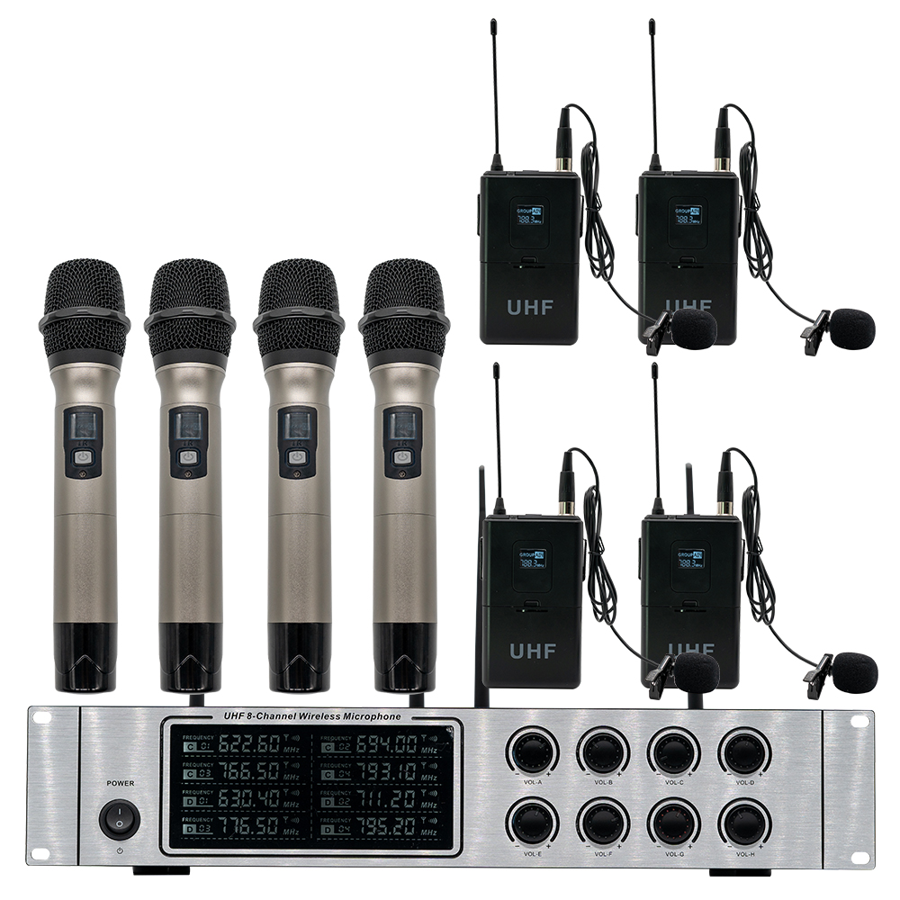 Wireless mikrofon system professional UHF kanal dynamische mikrofon 8 kanal bühne leistung lavalier mikrofon - 6