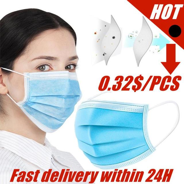 50pcs Black/White/blue Disposable Breathable Face Mask 3 Layer Anti-Dust Mouth Masks Anti Flu PM2.5 Respirator Face Care Earloop