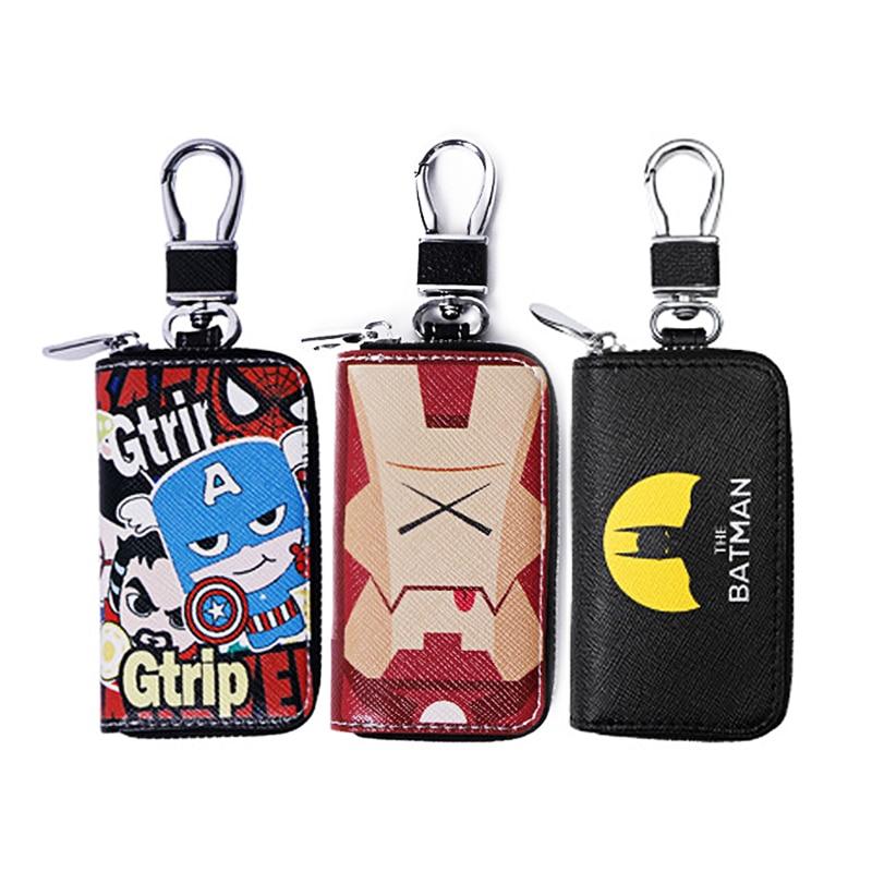 Fashion PU Leather Key Wallet Batman Iron Spider Man Superhero Key Case For Car Key Chain Bag Key Holder Cartoon Key Rings Cover