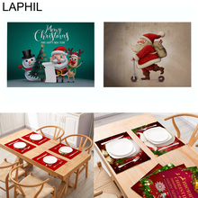 LAPHIL 42x32cm Christmas Table Mat Cotton Linen Santa Claus Placemat Merry Decorations for Home New Year Party