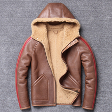 شحن مجاني ، معطف الشتاء الطبيعي الفراء ، 100% القص الصوف ، سترة جلدية دافئة ، الرجال معطف جلد الغنم. حجم كبير الملابس الجلدية
