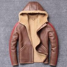 Frete grátis, casaco de pele natural de inverno, 100% lã shearling, casaco de couro quente, casaco de pele de carneiro masculino. roupas de couro tamanhos grandes