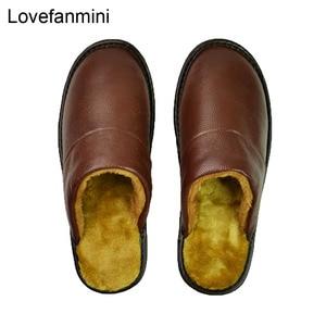Image 2 - Prawdziwa krowa skórzane kapcie para kryty antypoślizgowe mężczyźni kobiety domu modne buty w stylu casual pcv miękkie podeszwy zima 618