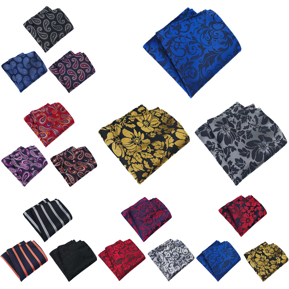 3 Packs Men's Paisley Floral Pocket Square Handkerchief Wedding Stripe Hanky BWTHZ0360