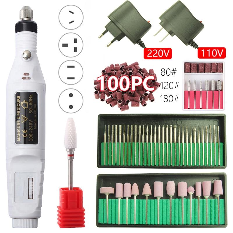 Electric Manicure Machine Professional Nail Drill Machine Kit Ceramic Nail File Manicure Pedicure Nail Art Nail Polishing Tool