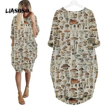 LIASOSO Plant Mushroom Print Sundress Lady Street Interesting Fashion Trend Wild Loose Long Sleeve Over The Knee Dress Women Y2K 1