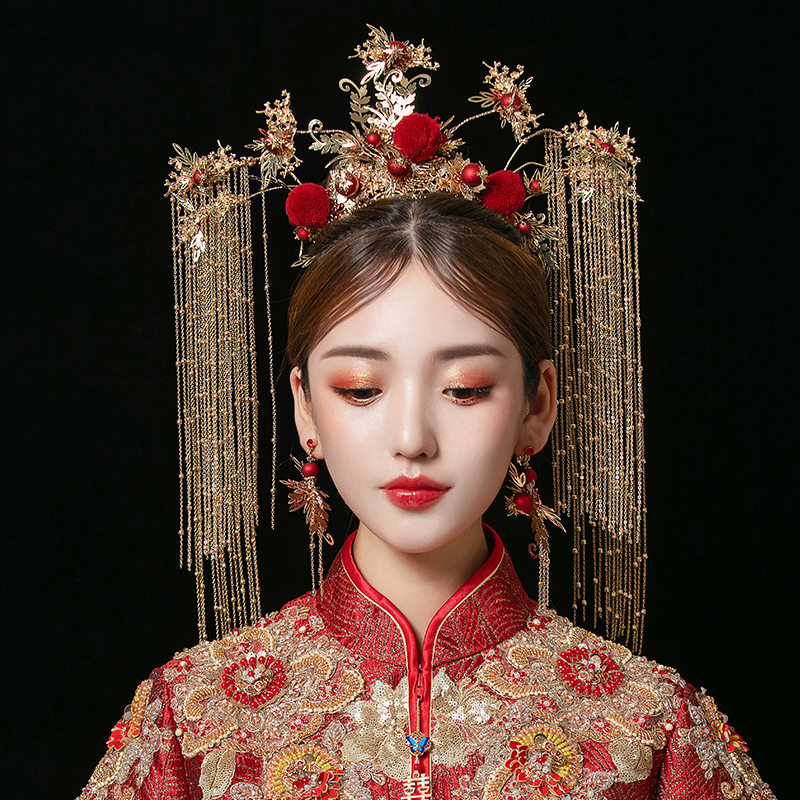 Traditional Chinese <font><b>Wedding</b></font> Bride Gold Queen Crown Red <font><b>Headpieces</b></font> Vintage <font><b>Wedding</b></font> Tiara Headdress Bridal <font><b>Hair</b></font> <font><b>Accessories</b></font> image