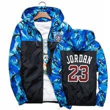 2020 Модные осенние Jordan 23 Мужская Уличная одежда с камуфляжной расцветкой ветровки с капюшоном, на молнии, Легкая куртка, мужское повседневно...