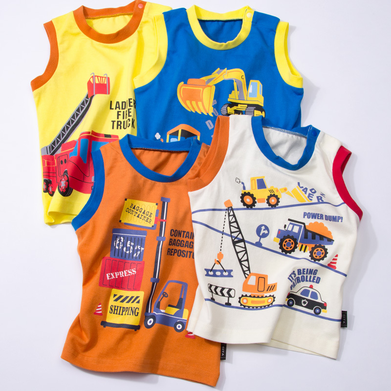 Thousands Of Interest Home Summer Male Baby Pure Cotton Vest With Shoulder Button Small CHILDREN'S Thin Sleeveless T-shirt Baby