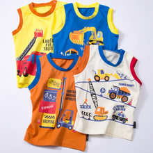 Thousands of Interest Home Summer Male Baby Pure Cotton Vest with Shoulder Button Small CHILDREN'S Thin Sleeveless T-shirt Baby(China)