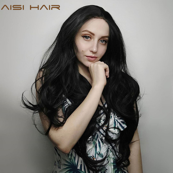 AISI HAIR  Black Long Wavy Wig Synthetic Lace Front Wigs for Black Women Natural Part Heat Resistant Fiber Wig charming long black shaggy wavy heat resistant synthetic ponytail for women