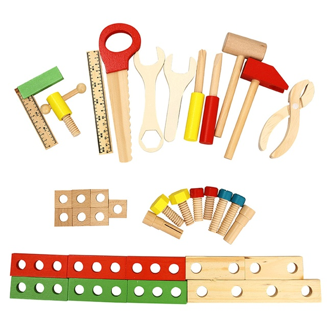 Kids Wooden Simulation Repair Toolbox Set Boys Toys for Children Pretend Play Baby Education Learning Toy Carpenter Tools Game